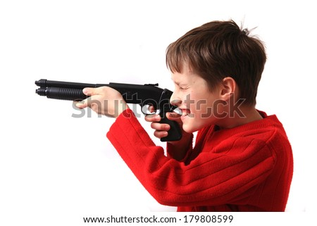 boy and hand gun isolated on the white background - stock photo