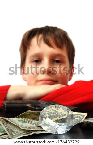 boy and his money  - stock photo