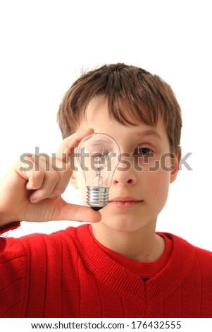 boy and light bulb - stock photo