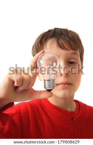 boy and light bulb isolated on the white background - stock photo