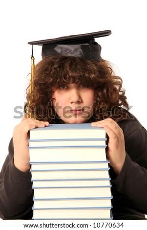 boy and many books on white background - stock photo