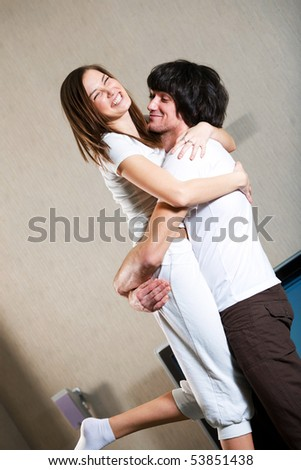 Boy and nice girl in white t-shirt