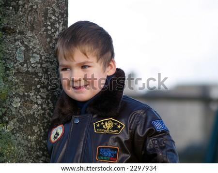 boy and tree - stock photo