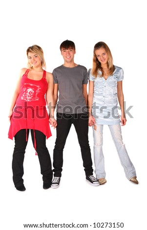 Boy and two girls posing