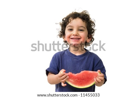 boy and watermelon isolated on white - stock photo