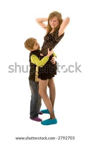 boy and woman dance - stock photo