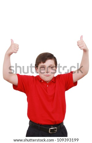 Boy approves something really great - stock photo