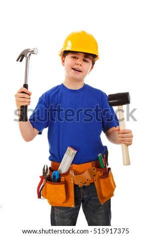 Boy as construction worker isolated on white background