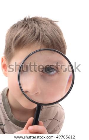 boy as detective - stock photo