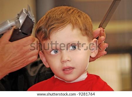 Boy at Barber - stock photo