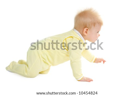 Boy at the age of 7 months isolate on white