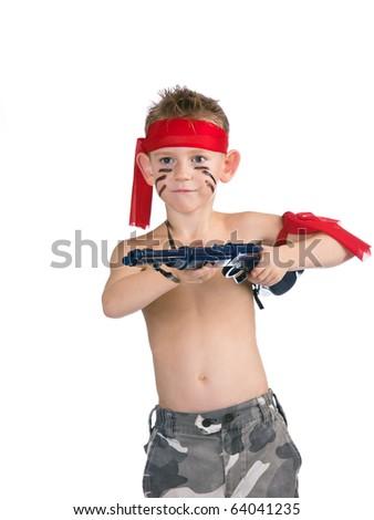 Boy attacks with child's gun - stock photo