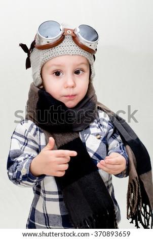Boy aviator - stock photo