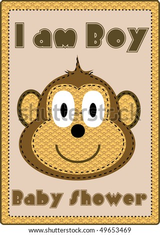 boy baby shower with monkey - stock photo