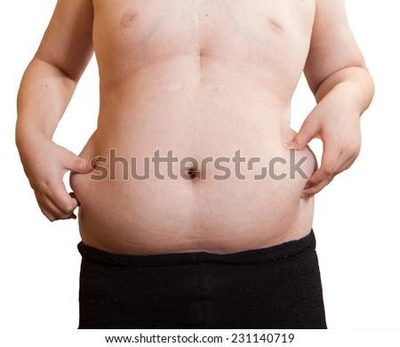 boy belly obesity disease - stock photo