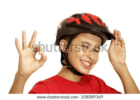 boy bike helmet on white - stock photo