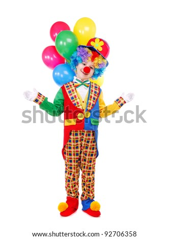 Boy birthday clown with a bunch of balloons over the white background - stock photo