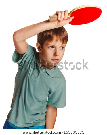 boy blond man table tennis children playing forehand takes topspin isolated on white background - stock photo
