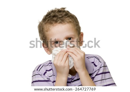 boy blow nose two hands - stock photo