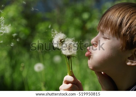 boy blowing on white dandelion. Close-up