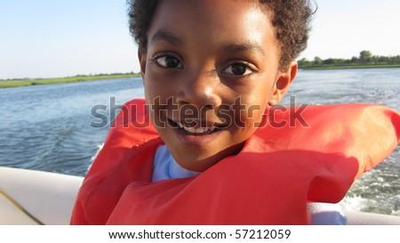 Boy Boating - stock photo