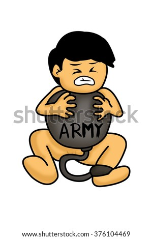 boy born to slave army cartoon on white background