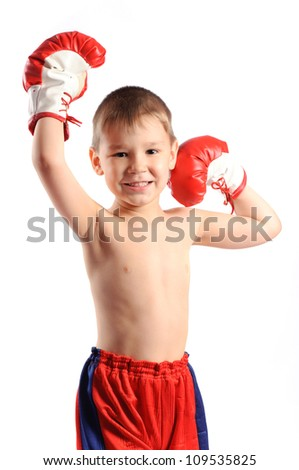 boy boxer isolated on white background - stock photo