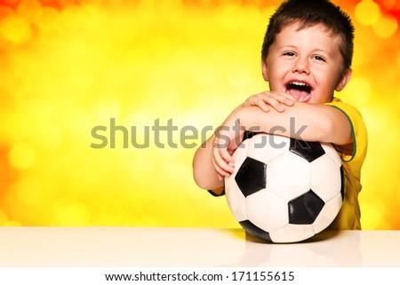 Boy Brazilian fans - stock photo