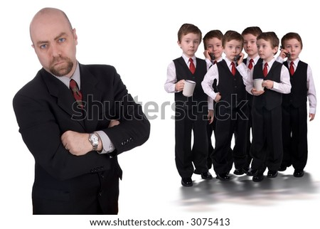 Boy Business team led by a businessman isolated over white - stock photo