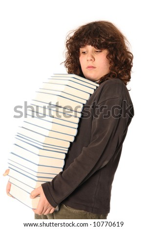 boy carrying books on head on white background - stock photo