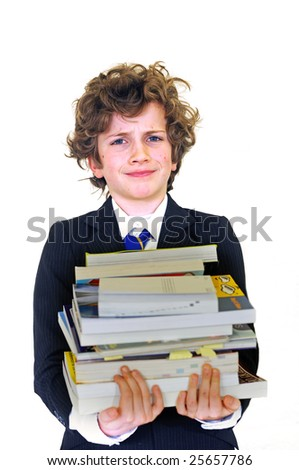 boy carrying heavy homework - stock photo
