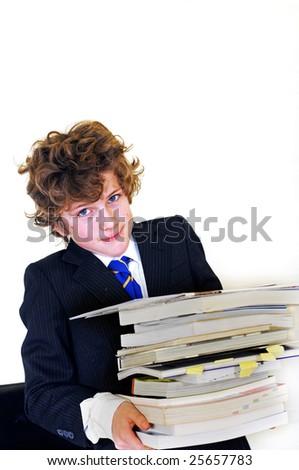 boy carrying homework - stock photo