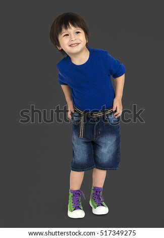 Boy Cheerful Studio Portrait Concept