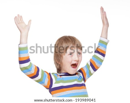 Boy Cheering with his Arms up - Isolated on White