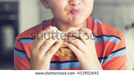 Boy Child Kid Bread Sandwich Starving Eating Concept - stock photo