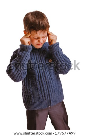 boy child suffering headache rubbing temple closed eyes isolated on white background