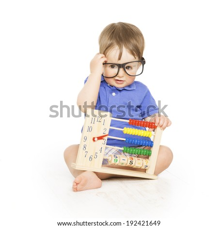 Boy child with abacus clock in glasses counting, smart little kid study lesson, education concept - stock photo