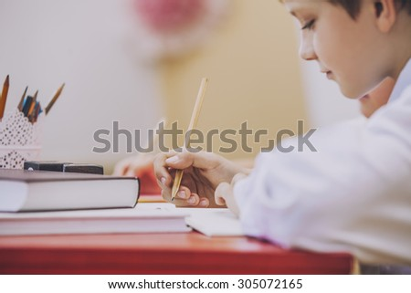 Boy, children in the school has a happy, curious, smart. Education, day of knowledge, science, generation, pre-school. - stock photo