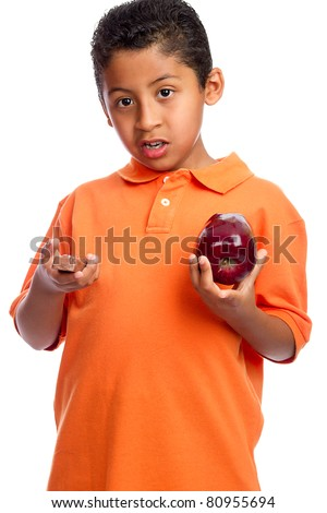 Boy Choosing Between Health and Junk Food