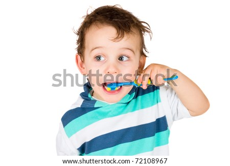 boy cleans a teeth isolated on white - stock photo