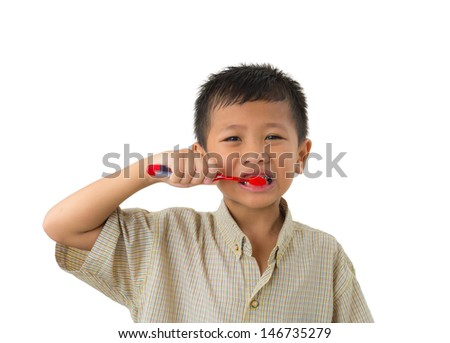 Boy cleans a teeth isolated on white background