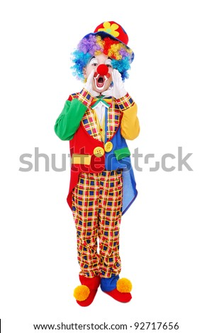 Boy clown shouting  standing over the white background - stock photo