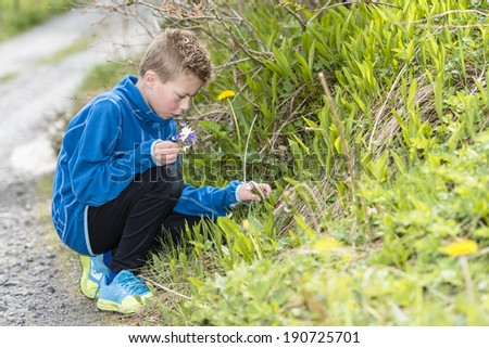 Boy collecting wild flowers for his mother