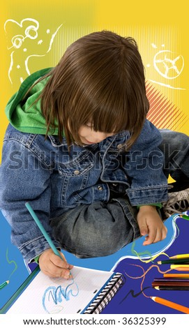 boy colouring on a notebook over a colorful background - stock photo
