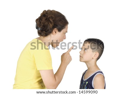 Boy confronts his mother - stock photo