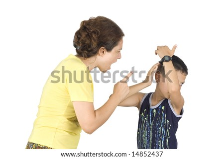 Boy confronts his mother isolated on white background - stock photo