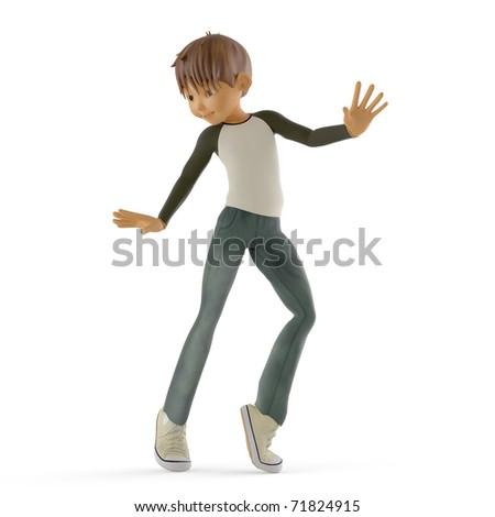 boy dancing moonwalk - stock photo