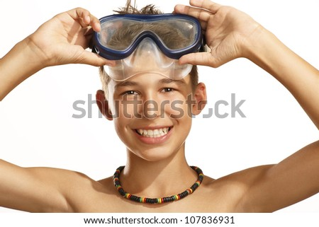 boy diving mask on white - stock photo