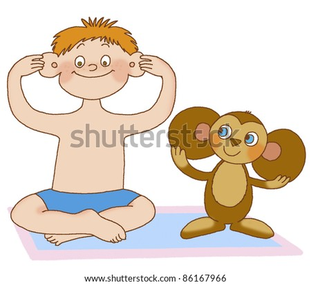 boy does massage the ears, depicting toy - stock photo