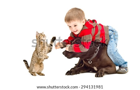Boy, dog and cat cheerfully playing together isolated on white background - stock photo